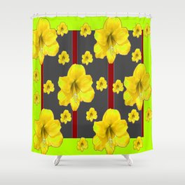 LIME-GREY YELLOW AMARYLLIS BLACK-RED DECO ART Shower Curtain