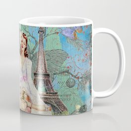 Paris - mon amour - Fashion Girl In France Eiffel tower Nostalgy - French Vintage Coffee Mug