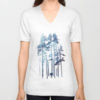wolf V-neck T-shirts featuring Winter Wolf by Robert Farkas