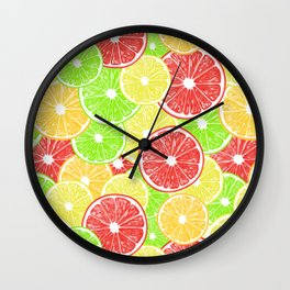 Lemon, orange, grapefruit and lime slices pattern design Wall Clock