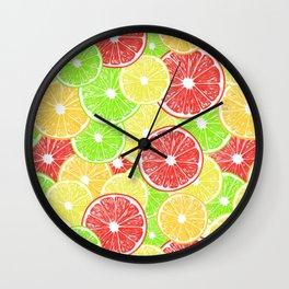 Lemon, orange, grapefruit and lime slices pattern design Wall Clock