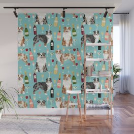 Australian Shepherd blue and red merle wine cocktails yappy hour pattern dog breed Wall Mural