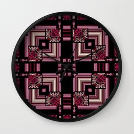 Abstract Pink Black Square Multi Pattern design Wall Clock