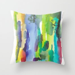 180812 Abstract Watercolour Expressionism 11| Colorful Abstract | Modern Watercolor Art Throw Pillow