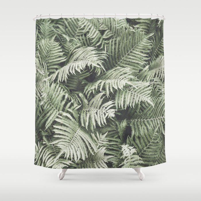 Fern Pattern Dull Green Print Shower Curtain By Wildhood Society6