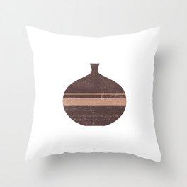 Minimal Abstract Greek Vase 7 - Aryballos - Terracotta Series - Modern, Contemporary Print - Taupe Throw Pillow