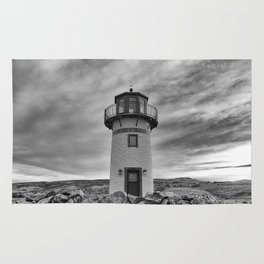 Lighthouse on the Sea (Black and White) Rug