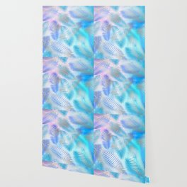 Watercolor and Silver Feathers on Watercolor Background Wallpaper