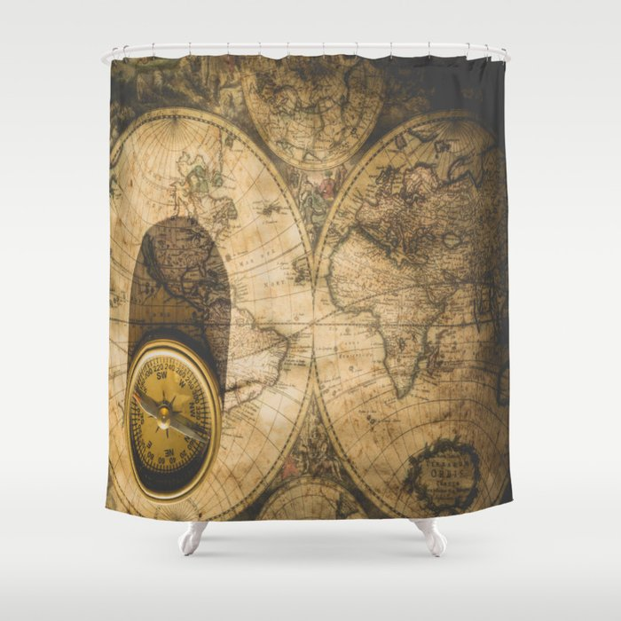 Old Nautical Map With Compass Shower Curtain