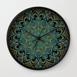 Teal and Gold Mandala Swirl Wall Clock