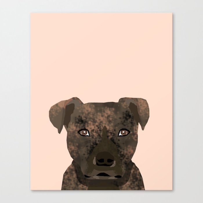 Pitbull brindle coat dog portrait cute gifts for dog lover with pitbulls  Canvas Print by petfriendly