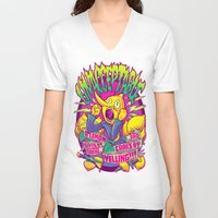 lemongrab V-neck T-shirts featuring LEMONGRAB: UNACCEPTABLE by BeastWreck