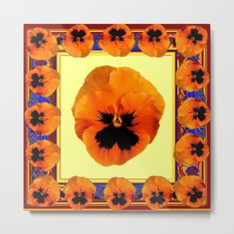 This design is all about the ORANGE PANSIES ON YELLOW COLOR DESIGN ART decor, furnishings, or for th Metal Print