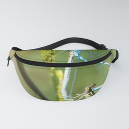 Two Dragonfly insect mating perched on stem of weed Fanny Pack
