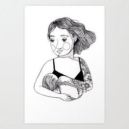 Tattooed Mama, illustration, Boho Art, Modern Art, Minimalist, Ink Art Print