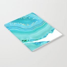 Soft Aqua Marine Gold Agate Glam #1 #gem #decor #art #society6 Notebook