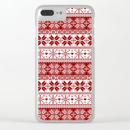 Red Winter Fair Isle Pattern Clear iPhone Case