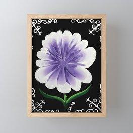 Large Flower Filigree Scroll Floral Art Acrylic Painting Purple Flower Framed Mini Art Print