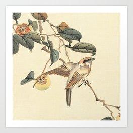 Vintage brown ivory bird floral tree branch Art Print