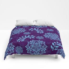 Mandalas & Leaves Pattern Blue Purple Comforters