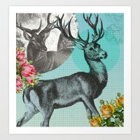 stag Art Prints featuring Stag by Ginger Pigg Art & Design
