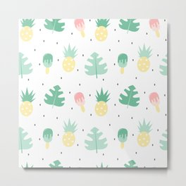 summer pattern background illustration with exotic leaves, pineapples and ice cream Metal Print