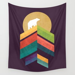 Lingering mountain with golden moon Wall Tapestry