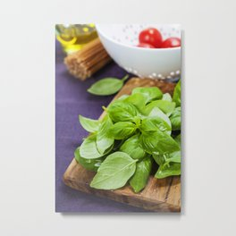 Basil and ingredients for making italian pasta Metal Print