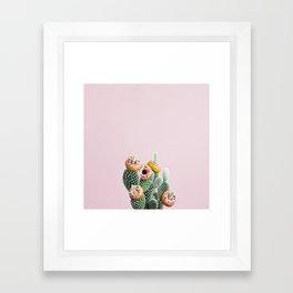 Donut Cactus In Bloom Framed Art Print
