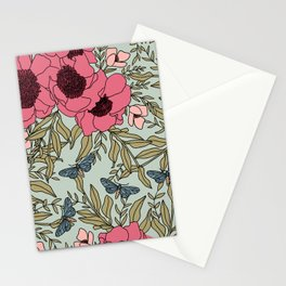 Mint & California Poppies | Hand-drawn Modern Floral  Stationery Cards