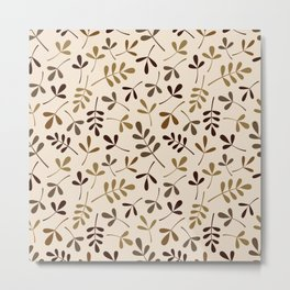 Assorted Leaf Silhouettes Gold Browns Cream Ptn Metal Print