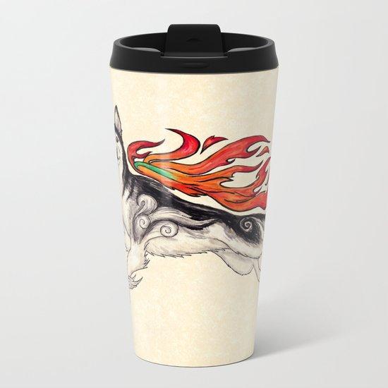 Marukomu Inukami ~ Ōkami inspired husky dog, watercolor & ink, 2015 Metal Travel Mug
