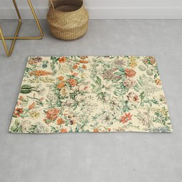 Wildflowers and Roses // Fleurs III by Adolphe Millot XL 19th Century Science Textbook Artwork Rug