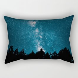 Blue Milky Way At Night Pine Tree Silhouette Stars Night Time Rectangular Pillow
