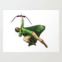 archer Art Prints featuring Archer by Sarah C