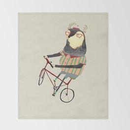 Deer on Bike.  Throw Blanket