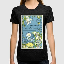 Hand Drawn Paisley Floral, Flower n Leaf Scroll Inspirational Text T-shirt