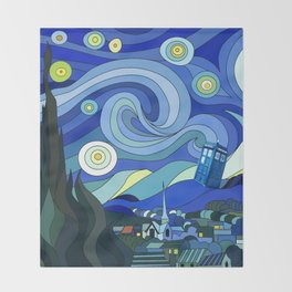 Tardis Art Starry Night Throw Blanket