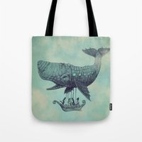vintage Tote Bags featuring Tea at 2,000 Feet by Eric Fan