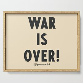 War is over, if you want it, peace message, vintage illustration, anti-war, Happy Xmas, song quote Serving Tray