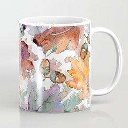 Colorful Watercolor Oak And Acorn Pattern Coffee Mug