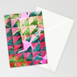 Abstract Hot Pink Banana Leaves Design Stationery Cards