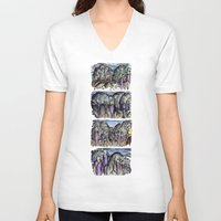 cities V-neck T-shirts featuring Cities by Kimmo Rantalainen