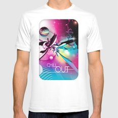 Chill Out MEDIUM White Mens Fitted Tee