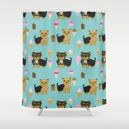 Yorkie ice cream gifts yorkshire terrier dog lover pet friendly patterns minty Shower Curtain