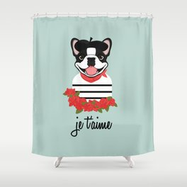 Je t'aime Frenchie Shower Curtain