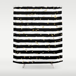 Hand drawn pattern, black and white stripes and gold dots Shower Curtain