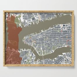 New York city map engraving liberty Serving Tray