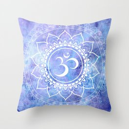 Om Mandala Lavender Periwinkle Blue Galaxy Space Throw Pillow