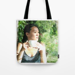 Watercolor of a Serene Beauty with a Cup of Tea in the Rainforest Tote Bag